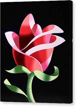 Canvas Print featuring the painting Abstract Geometric Cubist Rose Oil Painting 2 by Mark Webster