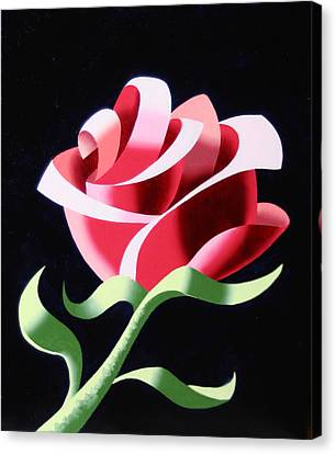 Canvas Print featuring the painting Abstract Geometric Cubist Rose Oil Painting 3 by Mark Webster