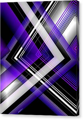Abstract Geometry With Purple And White Lines Canvas Print by Mario Perez