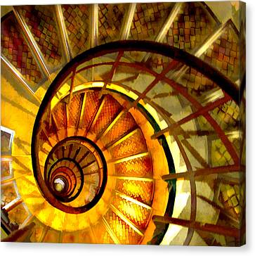 Abstract Golden Nautilus Spiral Staircase Canvas Print by Elaine Plesser