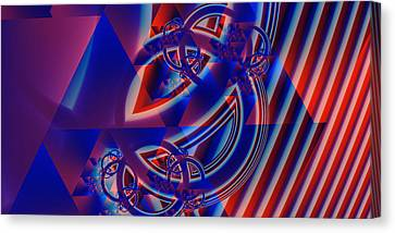 Canvas Print featuring the digital art Abstract In Red And Blue by Mario Carini