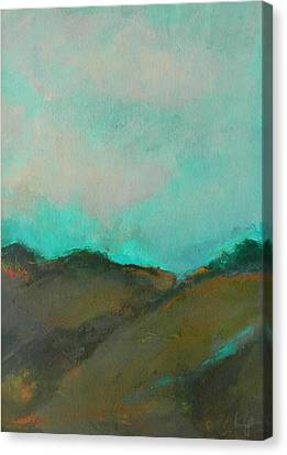 Abstract Landscape - Turquoise Sky Canvas Print by Kathleen Grace