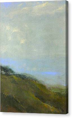 Abstract Landscape - Green Hillside Canvas Print by Kathleen Grace
