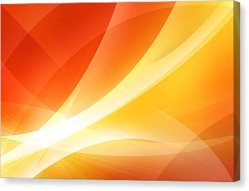 Sun Rays Canvas Print - Abstract Orange And Red Background by Nattapon Wongwean
