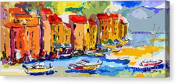 Abstract Portofino Italy And Boats Canvas Print by Ginette Callaway