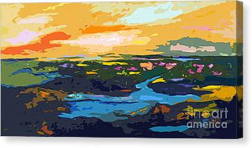 Abstract Sunset Landscape Waterways Canvas Print by Ginette Callaway