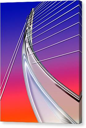 Abstract Wired Steel Arc On Rainbow Neon Canvas Print by Elaine Plesser