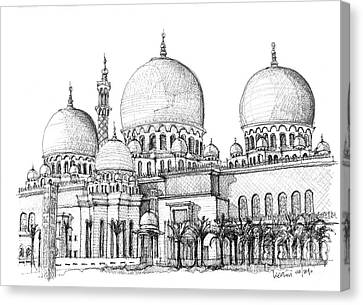 Abu Dhabi Masjid In Ink  Canvas Print