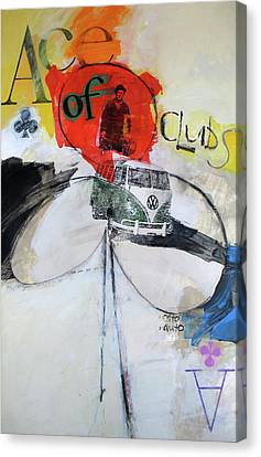 Canvas Print featuring the painting Ace Of Clubs 36-52 by Cliff Spohn