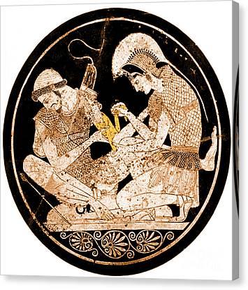 Achilles Tending Patroclus Wounds Canvas Print by Science Source