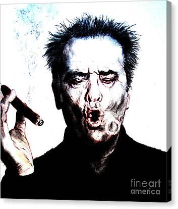 Actor Jack Nicholson Smoking  II Canvas Print by Jim Fitzpatrick