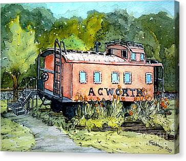 Canvas Print featuring the painting Acworth Caboose by Gretchen Allen