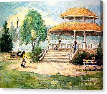 Canvas Print featuring the painting Acworth Park by Gretchen Allen