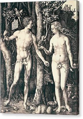 Adam And Eve Canvas Print by Albrecht Durer