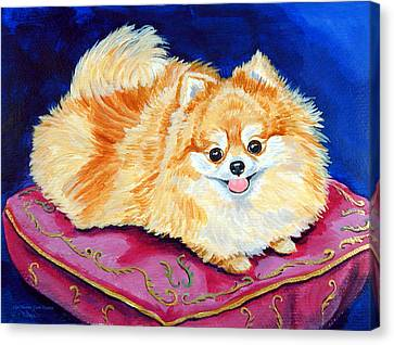 Adoration - Pomeranian Canvas Print by Lyn Cook