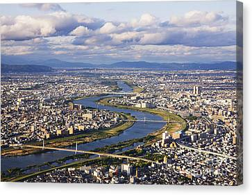 Aerial Japanese Cityscape And River Canvas Print by Jeremy Woodhouse