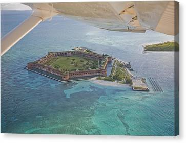 Aerial Of Fort Jeffereson, At Dry Canvas Print by Mike Theiss