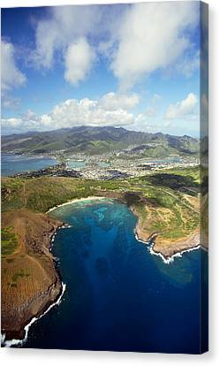 Aerial Of Hanauma Bay Canvas Print by Ron Dahlquist - Printscapes