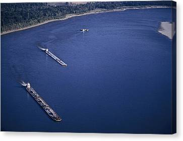 Aerial Of Mississippi River Canvas Print by Kenneth Garrett