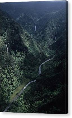 Aerial Of Olekole Canyon Canvas Print by Ira Block