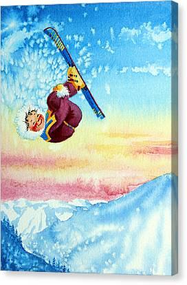 Aerial Skier 13 Canvas Print by Hanne Lore Koehler