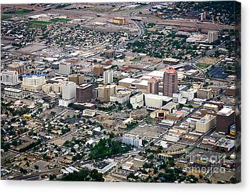 Canvas Print featuring the photograph Aerial View Of Albuquerque by Lawrence Burry