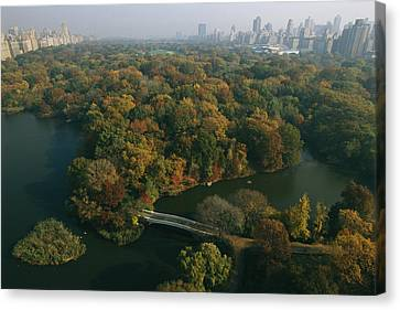 Aerial View Of Central Park Canvas Print by Melissa Farlow