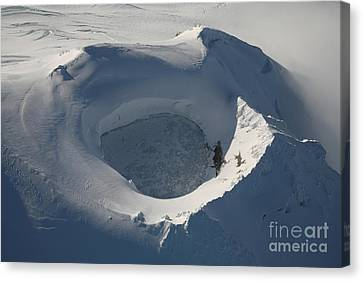 Aerial View Of Frozen Lake In Summit Canvas Print by Richard Roscoe