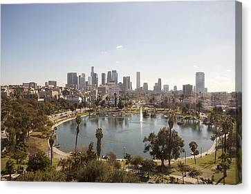 Aerial View Of Lake In Urban Park Canvas Print by Cultura Travel/Zak Kendal