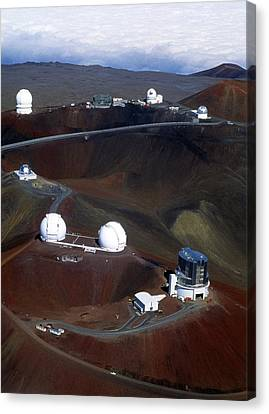Keck Telescope Canvas Print - Aerial View Of Observatories At Mauna Kea, Hawaii by John Sanford