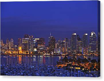 Aerial View Of San Diego Skyline With Canvas Print by Stuart Westmorland