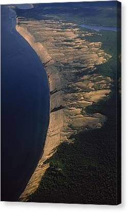 Aerial View Of The Grand Sable Dunes Canvas Print by Phil Schermeister