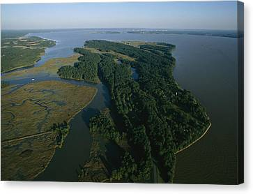 Aerial View Of The James River Canvas Print by Ira Block