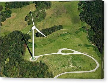 Aerial View Of Wind Turbine Canvas Print by Daniel Reiter