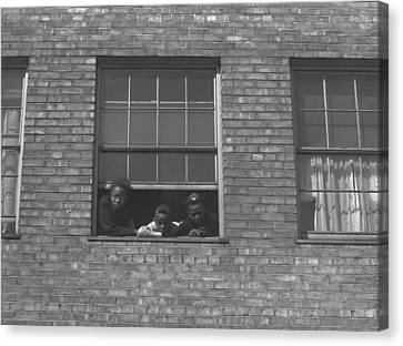 African American Children At Window Canvas Print by Everett
