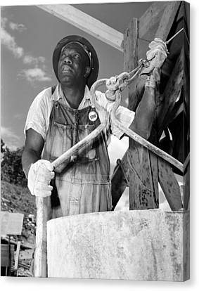 African American Construction Worker Canvas Print by Everett