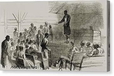 African American Freedmen In A Prayer Canvas Print by Everett