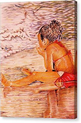 African American Girl On The Beach Canvas Print by Candace  Hardy