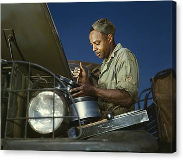 African American Soldier, A Truck Canvas Print by Everett