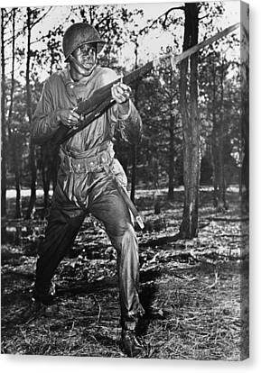 African-american Soldier Charging Canvas Print by Everett
