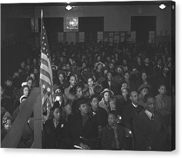 African Americans At A Tenants Meeting Canvas Print by Everett