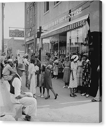 African Americans Shopping And Visiting Canvas Print by Everett