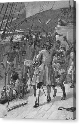 African Captives Fight Against A 18th Canvas Print by Everett