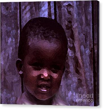 Canvas Print featuring the pyrography African Little Girl by Lydia Holly