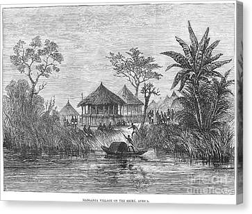 African Village, 1878 Canvas Print by Granger
