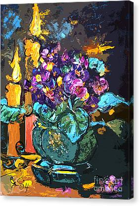 African Violets Canvas Print - African Violets In Candlelight Still Life by Ginette Callaway