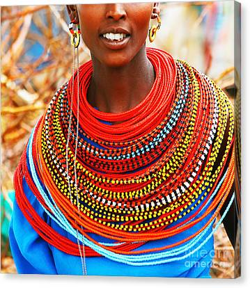 African Woman With Traditional Accessories Canvas Print by Anna Om