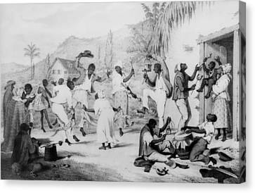 Afro-caribbean Slaves Dancing Canvas Print by Everett