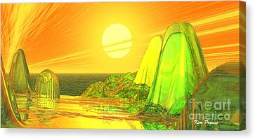 Canvas Print featuring the digital art Green Crystal Hills by Kim Prowse