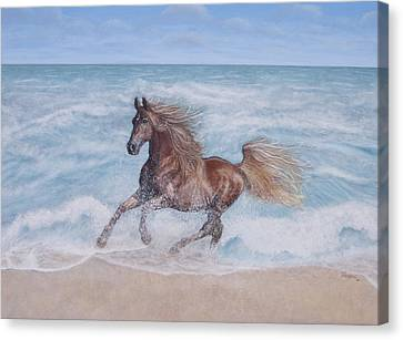 Canvas Print featuring the painting Afternoon Frolic by Cindy Lee Longhini